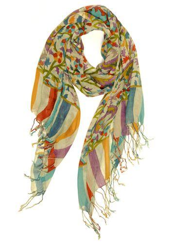 Garden Treasure Scarf - Multi, Red, Yellow, Green, Blue, Purple, Grey, Stripes, Floral, Fringed, Tassles, Casual, Boho, Spring, Summer
