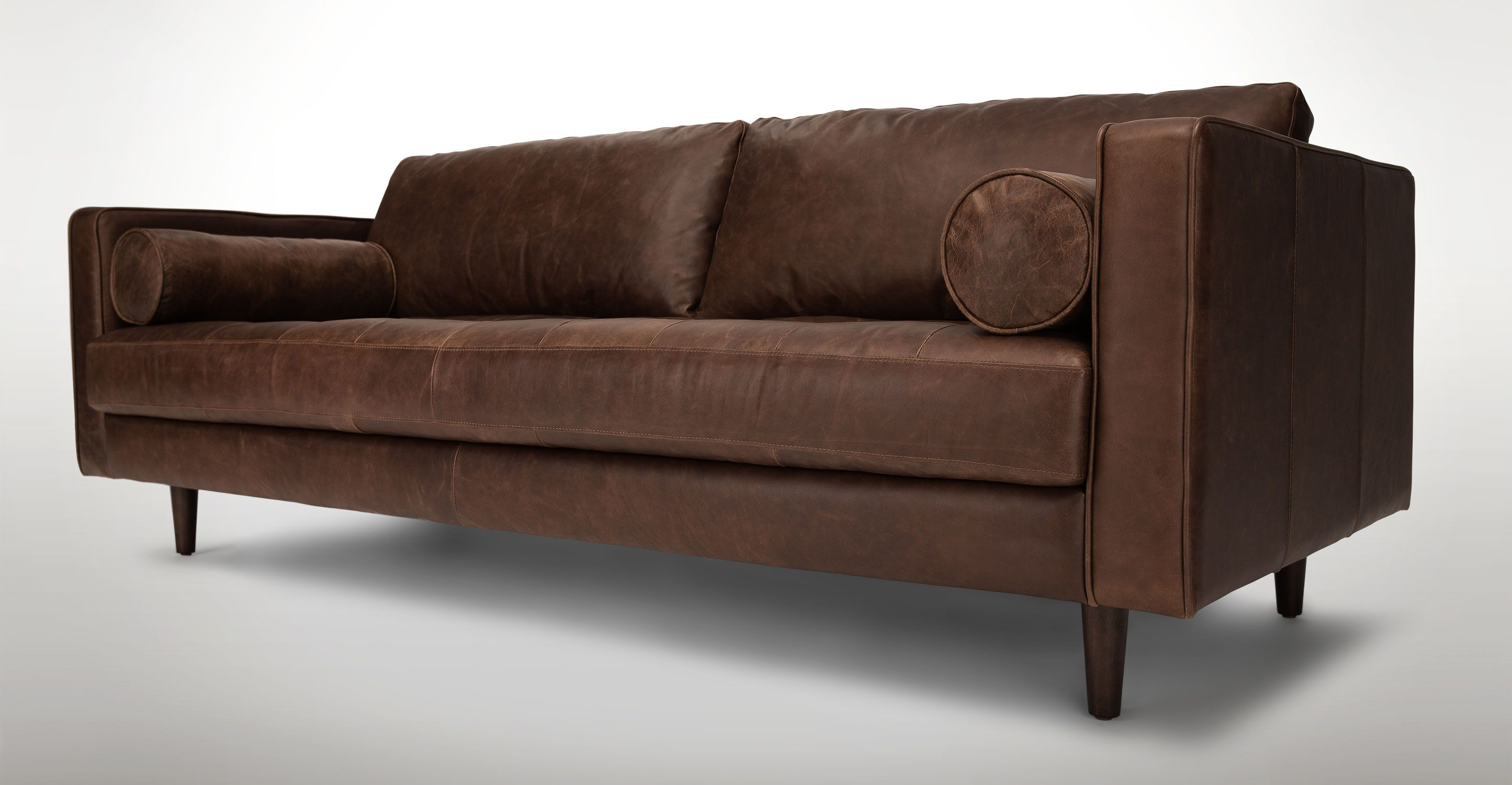Chocolate Brown Tufted Leather Sofa Article Sven Modern Furniture