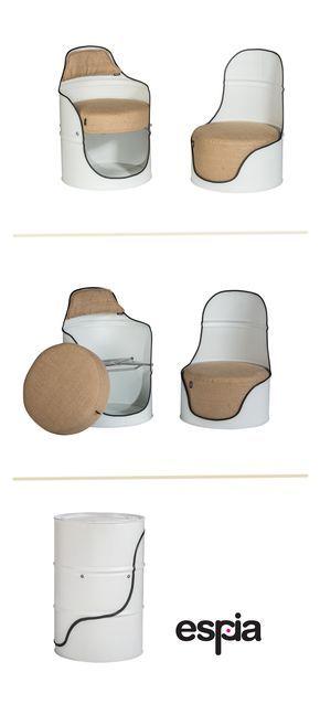 Fauteuil En Baril Recycle Espia Meubles En Tonneau Ameublement Industriel Vintage Baril
