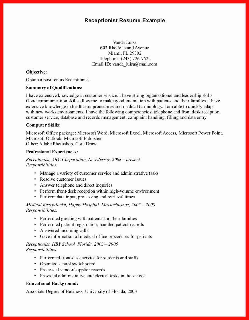 23 Dental Receptionist Job Description Resume in 2020