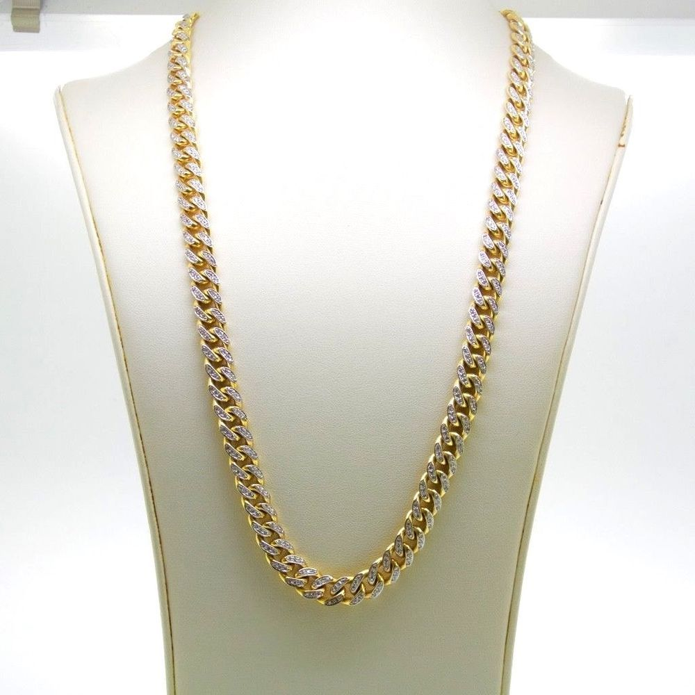 130g 10k Yellow Gold Miami Cuban Link Chain Necklace 8 4 Carat Diamond 10mm 28 L Chain Cuban Link Chain Necklaces Chain Necklace Cuban Link Chain