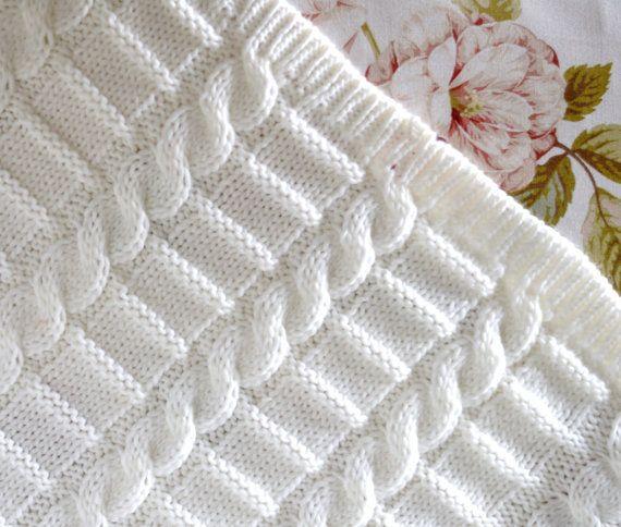 Knitting pattern afghan baby blanket 3 Sizes Easy Beginner Baby ...