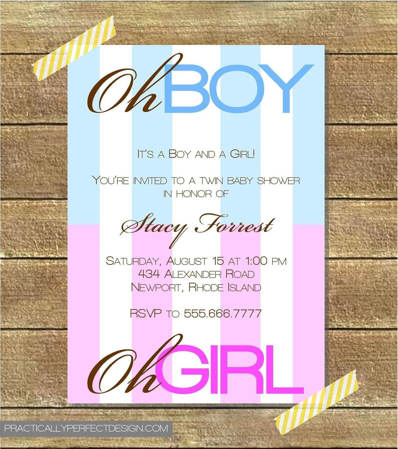 Twin Baby Shower Invitation, Boy AND Girl
