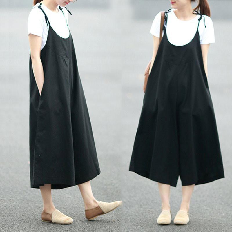 04482e99c173 Loose Summer Casual Women Linen Plain Black Jumpsuit Pants - Buykud ...