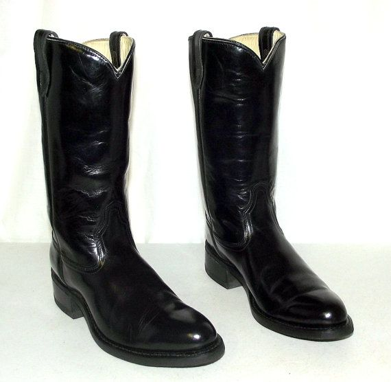 Black Patent Leather Acme Cowboy Boots - mens size 9.5 B Narrow ...
