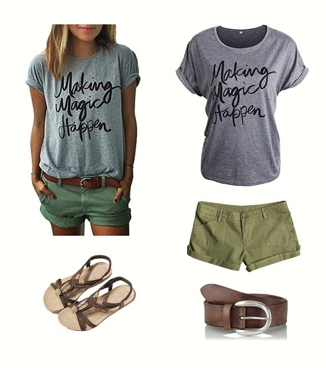 cooles l ssiges sommer outfit mit angesagten print style t shirt damen outfit outfit. Black Bedroom Furniture Sets. Home Design Ideas