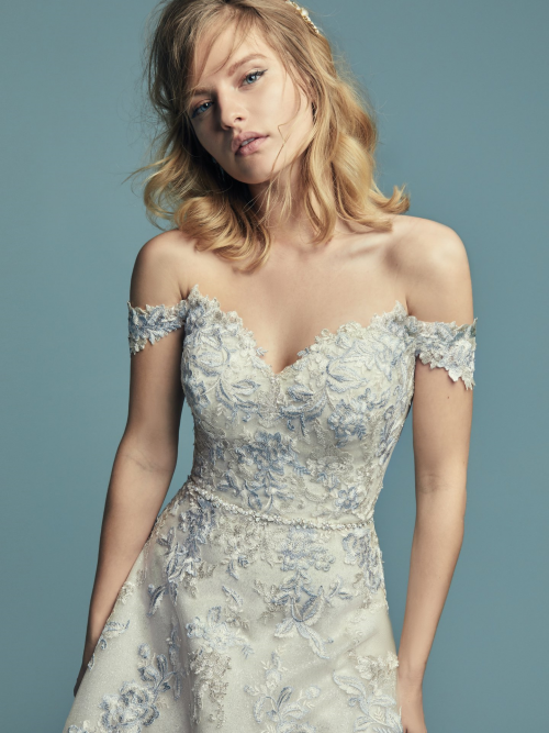 Maine Lace Blue Gold Coloured Quirky Bride Unusual Dress