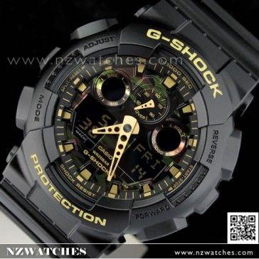 cce7cbb353f2 Casio G-Shock Camouflage Black Gold Analog Digital Display Watch GA -100CF-1A9
