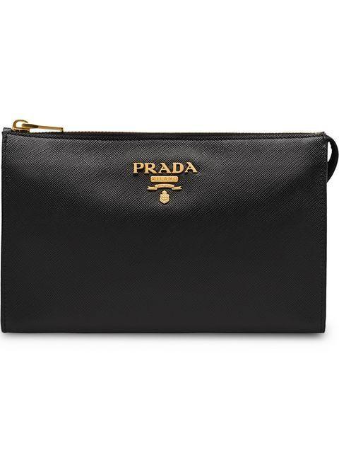 Prada Logo Zipped Clutch In 2019 Bag Lady