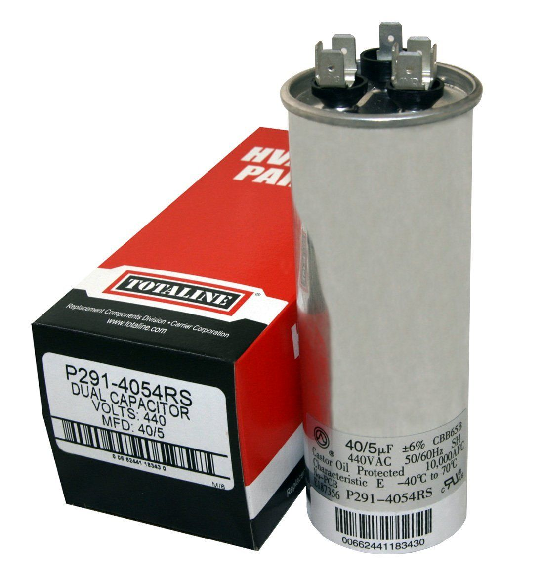 P2914054RS 40/5mf, 370 or 440 Dual Run Round Capacitor