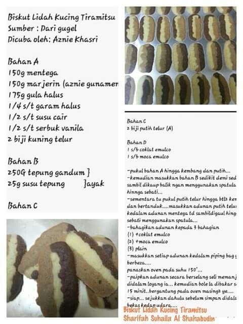 Biskut Lidah Kucing Tiramitsu Biscuit Recipe Homemade Cakes Food