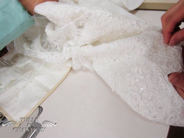 Sew lace wedding dress