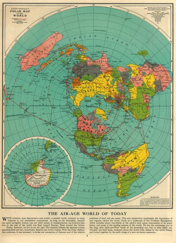 Pin by ciarra gressett on homeschoolunschool pinterest flat vintage map of the world top of the world 1955 gumiabroncs Gallery