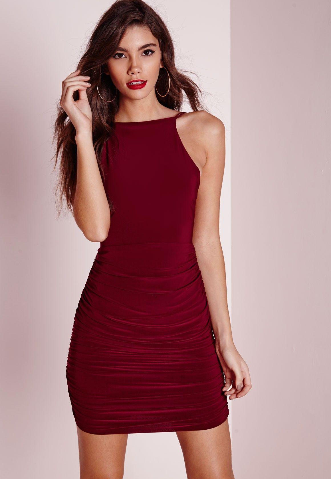 d245bcbf332 Missguided - Slinky High Neck Bodycon Dress Burgundy
