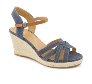 Michael Shannon Cheryl Women's Wedge Sandal (NAVY) | Off Broadway Shoes