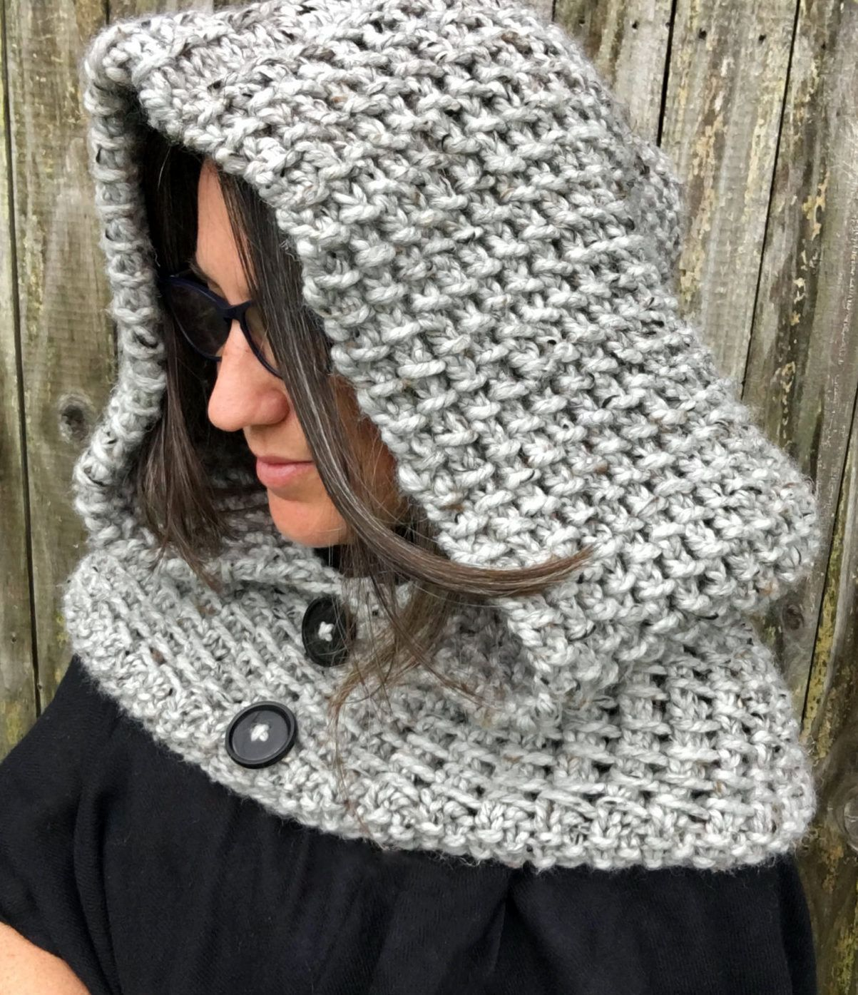 Knitting Pattern for 2 Row Repeat Dawn Hooded Cowl - A simple two ...
