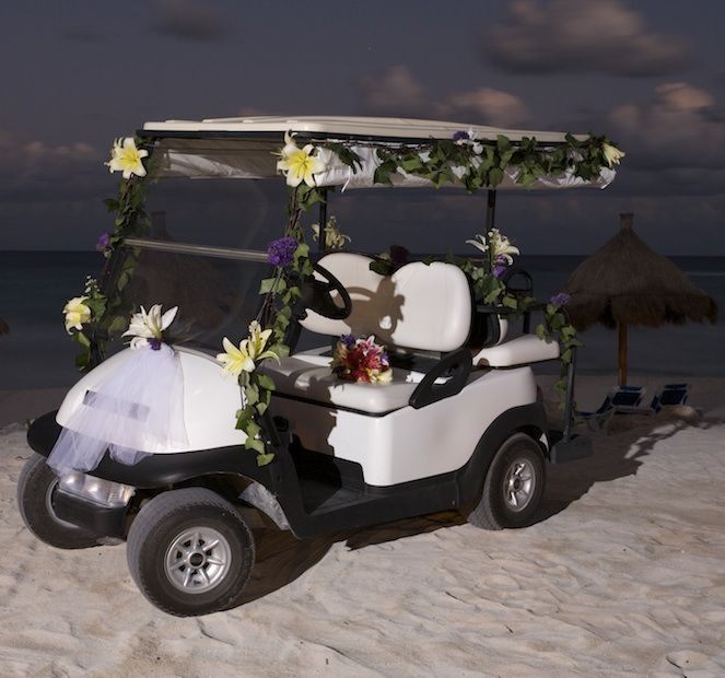 Cool Decorated Golf Cart To Get You To Your Beach Wedding