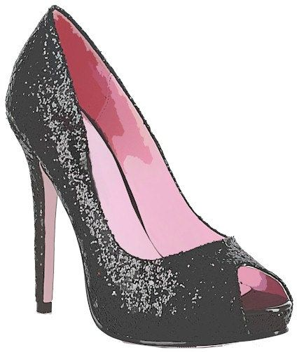 291cd132ac284 Glittery sparkly black high heel womans shoe clip art digital ...
