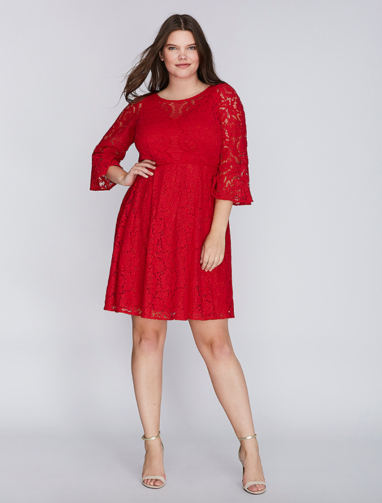 3a077b4e652 Lane Bryant Red Lace Dress Fit   Flare Flounce Sleeves 14 16 18 20 ...