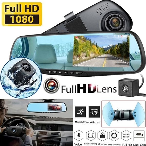4.3/'/' 1080P HD Dual Lens Car DVR Rearview Mirror Dash Cam Recorder Camera Kits