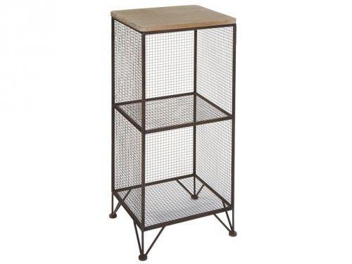 Mesa estantería de rejilla y madera 2 estantes