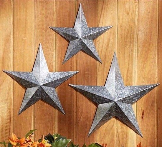 Set Of 3 Distressed Rustic Metal Country Star Wall Art Hangings