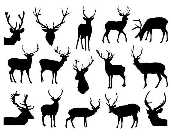 hirsch silhouette clipart deer clipart rentier von. Black Bedroom Furniture Sets. Home Design Ideas