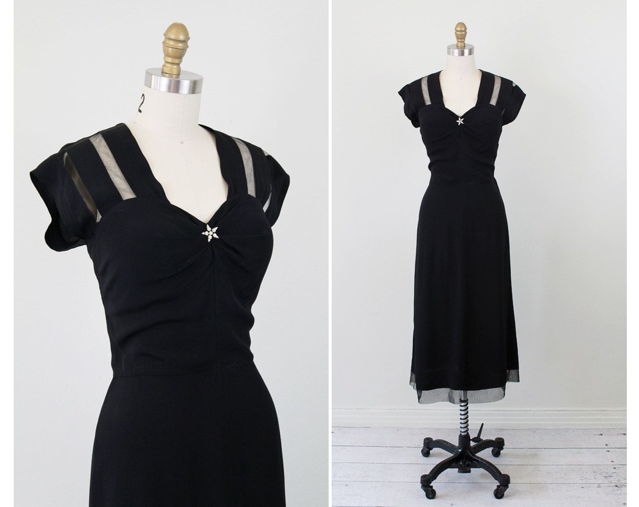 Vintage 1930s dress star dress little black jersey and mesh vintage 1930s dress star dress little black jersey and mesh evening sky dress with large rhinestone star ombrellifo Image collections
