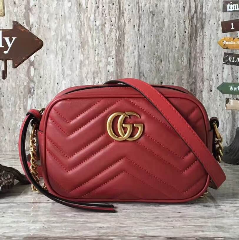 1a82f2702b9 Gucci GG Marmont Mini Chain Shoulder Camera Bag