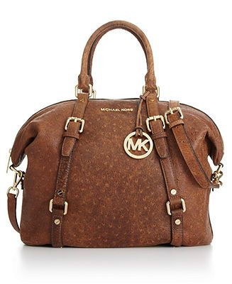 MICHAEL Michael Kors Bedford Ostrich Satchel - MICHAEL Michael Kors - Handbags & Accessories - Macy's