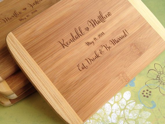 Personalized Wedding Gifts Ideas: Engraved Wood Cutting Board, Bridal Shower Gift, Wedding