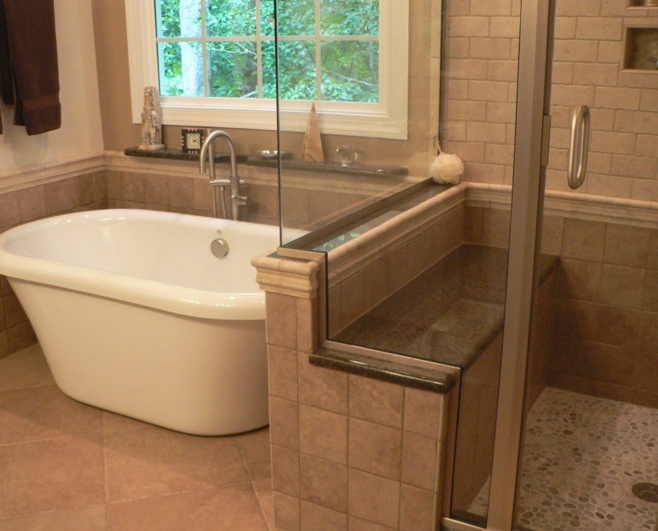 Bathroom. Brown Ceramic Wall Shower Room With Glass Door And Seating ...