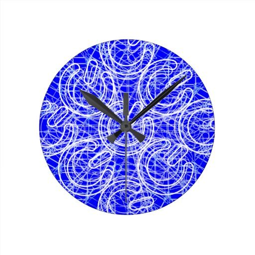 3D Chaotic Power Trip Wall Clock. Three dimensional multiple white power symbols with an abstract white mesh over a blue background. #electrovista