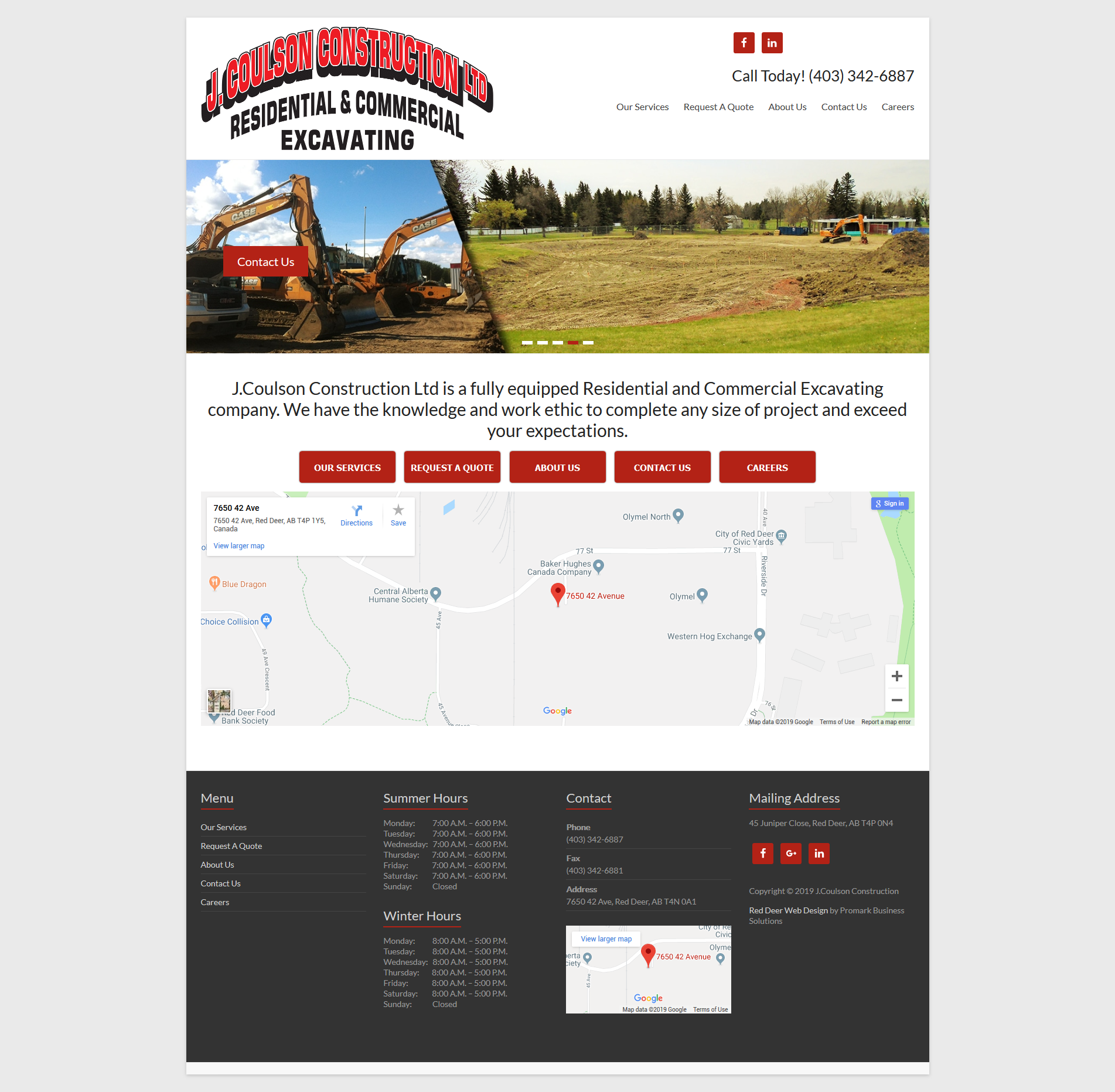 J Coulson Construction Ltd A Fully Equipped Excavating Company In Red Deer Alberta Http Jcoulson Ca Redd Construction Red Deer Alberta Business Website