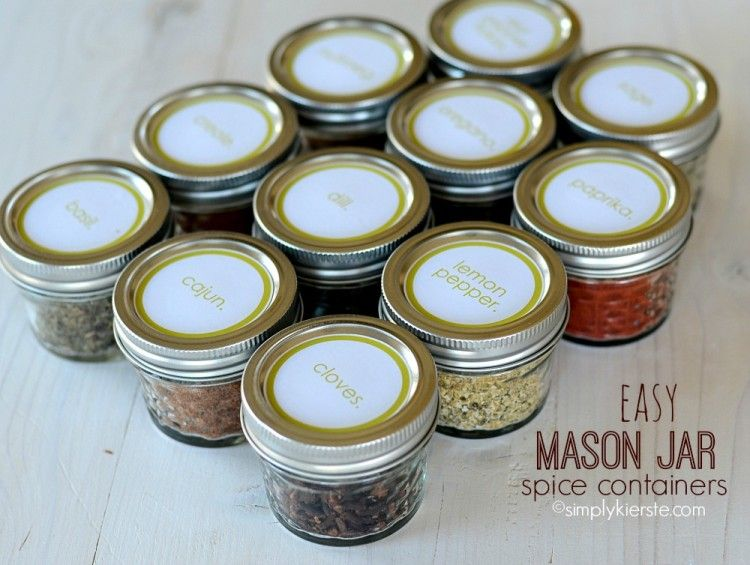 Easy Mason Jar Spice Containers Spice Containers Mason Jars Mason Jars Labels