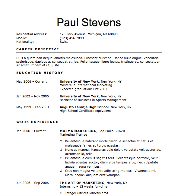 free resume download sprouting