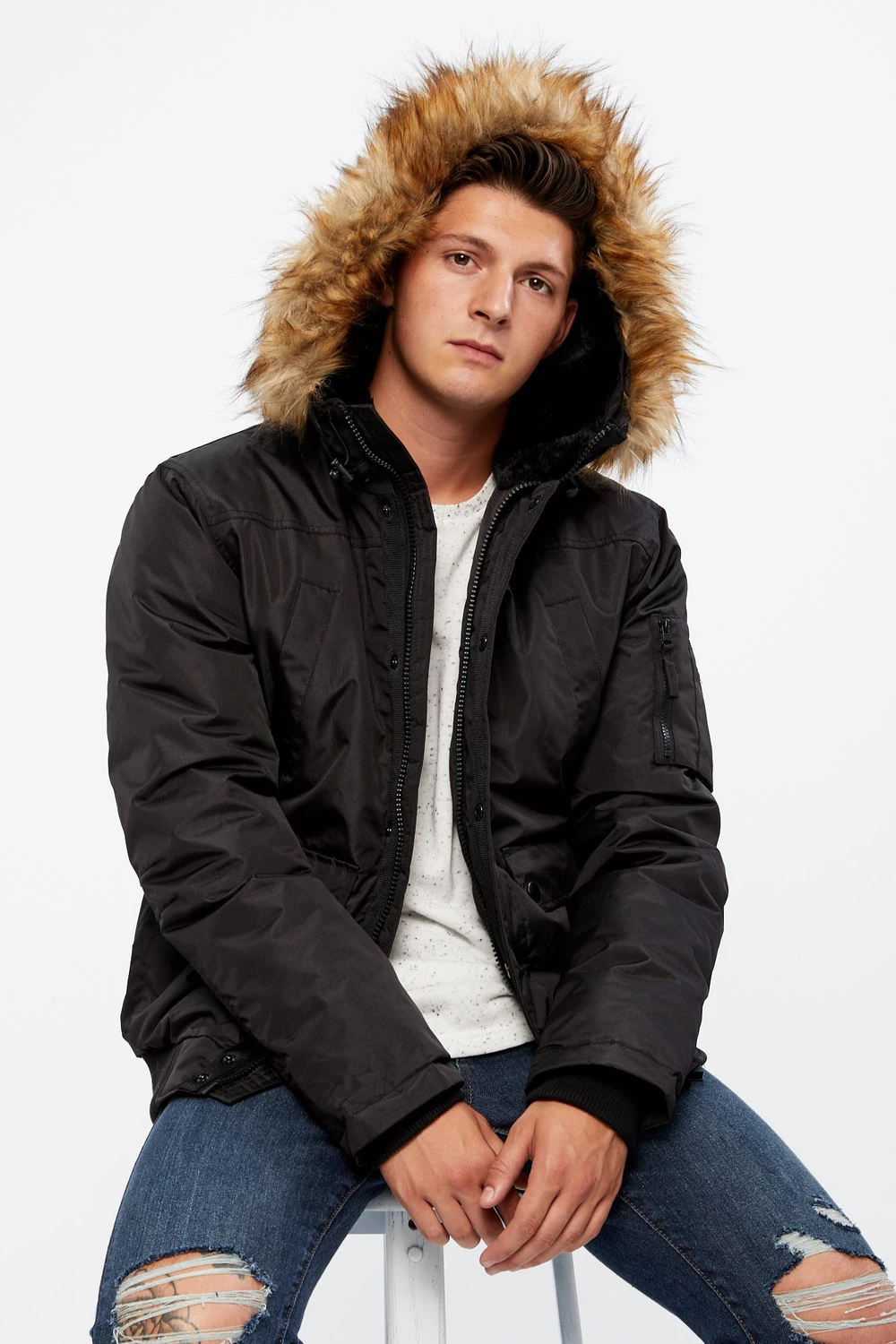 Mens Downfill Bomber Jacket With Faux Fur Hood Bluenotes Bomber Jacket Faux Fur Hood Fur Hood [ 1500 x 1000 Pixel ]