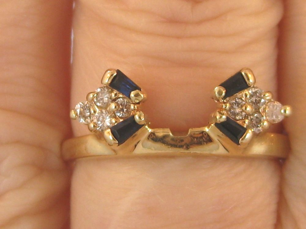14k Solid Yellow Gold Diamond Sapphire Ring Wrap Guard Jacket Enhancer Sapphire Ring Gold Sapphire Ring Sapphire Diamond Ring