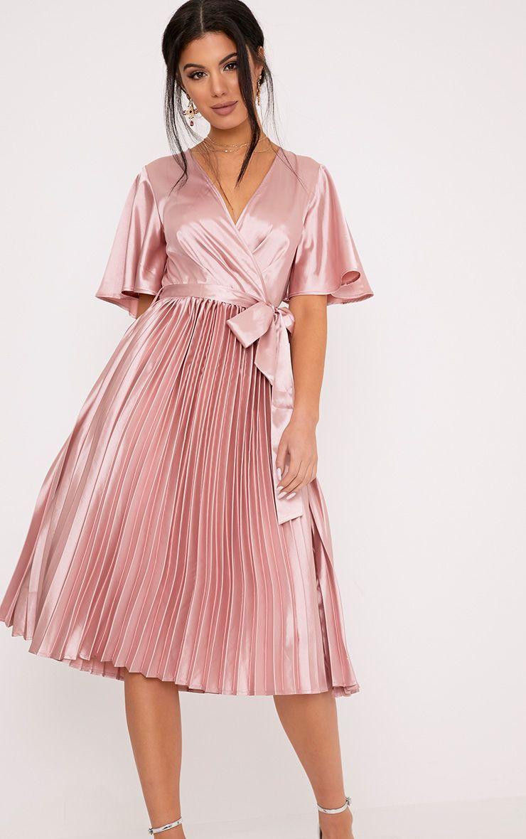 8c9ce65df3a Mairee Dusty Pink Satin Pleated Midi Dress in 2019 | dress | Dresses ...