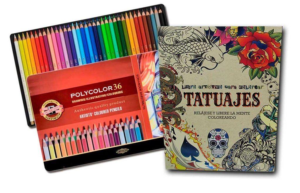 Combo Lapices Koh-I-Noor Polycolor x36 + libro para colorear ...