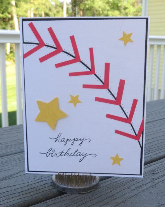 Baseball Themed Birthday Card Handmade Greeting Card