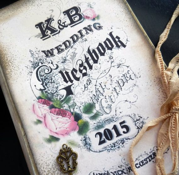 Victorian style Wedding guest book Unique and vintage style book ...