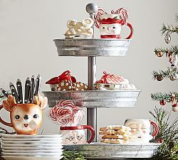Cake Stands Tiered Servers Pottery Barn Tray Decor Christmas Tiered Tray Decor Metal Tiered Stand