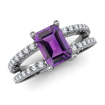 Angara Emerald-Cut Amethyst Solitaire Ring with Diamond in Platinum WY5HaqUulg