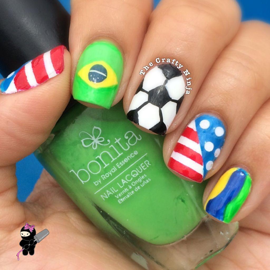 World Cup Soccer Nails - World Cup Soccer Nails TheCraftyNinja.com Nail Art Pinterest