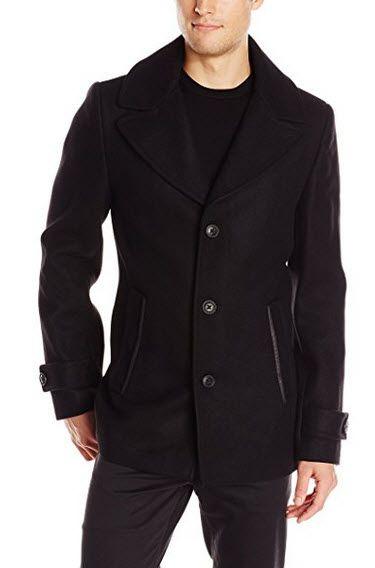 Buffalo David Bitton Mens Wool Button Front Jacket w/ Hood & Biby Charcoal - Coats & Outerwear