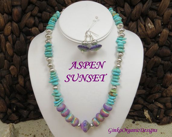 Aspen Sunset necklace set by GinkoOrganicDesigns on Etsy, $120.00