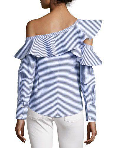 af4da7126b4835 TV660 Self-Portrait Striped Frill Asymmetric Shirt, Navy/White ...