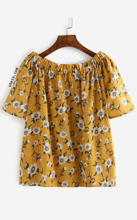 8f19fb679597 Yellow Flower Print Off The Shoulder Blouse | Love to Wear | Floral ...