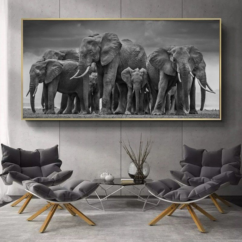 Modern Animals Posters And Prints Wall Art Canvas Painting African Elephant Herd Pictures For Living Room Cuadros Decor No Frame In 2021 Wall Art Canvas Painting Animal Wall Art Canvas Art